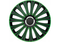 4 st. Navkapslar LeMans 17-tums svart / grön