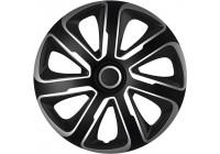 4 st. Navkapslar Livorno 13-tums silver / svart kolfiber look