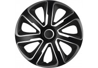 4 st. Navkapslar Livorno 14-tums silver / svart kolfiber look