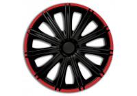 4 st. Navkapslar Nero R16-tums svart / röd