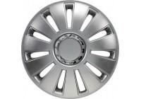 4 st. Navkapslar Silverstone Pro 17-tums silver + krom ring