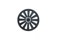 4 st. Navkapslar Spyder 17-tums svart + krom ring