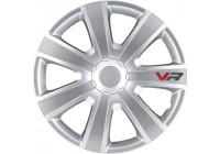 4 st. Navkapslar VR 14-tums silver / kol-look / logo