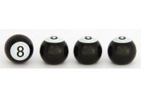 Universal Air-valve caps 8-ball - Black - set of 4