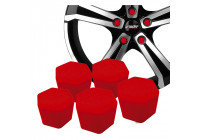Simoni Racing Wheel Nut Caps Soft Sil - 17mm - Red - Set of 20 pieces