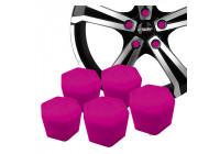Simoni Racing Wheel Nut Caps Soft Sil - 19mm - Pink - Set of 20 pieces