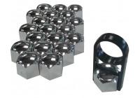 Universal Wheel Nut Covers chrome plastic 17mm