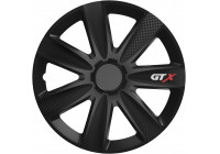 Wheel Trim GTX Carbon Black 14 inch Hub Caps set of 4