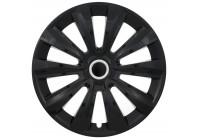 Wheel Trim Hub Caps set of 4 Delta Ring Black 16 Inch