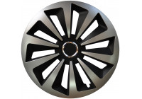 Wheel Trim Hub Caps set of 4 Fox Ring Mix Silver / Black 16 Inch