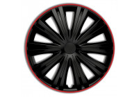 Wheel Trim Hub Caps set of 4Giga R 13-inch black / red