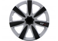Wheel Trim Hub Caps set of 4GTX Carbon Black & Silver 13 ''