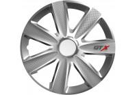 Wheel Trim Hub Caps set of 4GTX Carbon Silver 13 inch