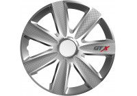 Wheel Trim Hub Caps set of 4GTX Carbon Silver 14 inch