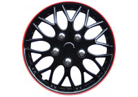 Wheel Trim Hub Caps set of 4Missouri 14-inch black / red border