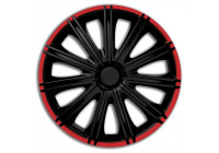 Wheel Trim Hub Caps set of 4Nero R 13-inch black / red