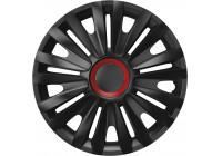 Wheel Trim Hub Caps set of 4Royal Red Ring Black 16 inch