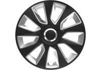 Wheel Trim Hub Caps set of 4Stratos RC Black & Silver 13 inch
