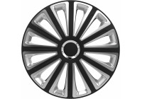Wheel Trim Hub Caps set of 4Trend RC Black & Silver 15 inch