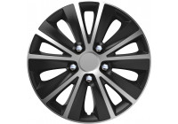 Wheel Trim Rapide NC Silver & Black 16 inch Hub Cap set of 4