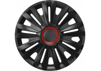 Wheel Trim Royal Red Ring Black 14 inch Hub Cap set of 4