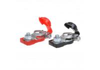 Batterikontakterna (+) och (-) med plastskydd röd / svart