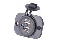 Infälld USB Adapter 2xUSB 5V-2,1A och 1A / 12V-24V-ingång