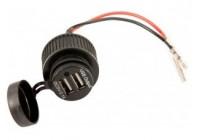USB-adapter - 2 portar 5V 2.1A - flush - svart