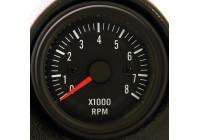 Svart Prestanda Instrument Varvräknare> 8000rpm 2/3/4/5/6/8 cyl. 52mm