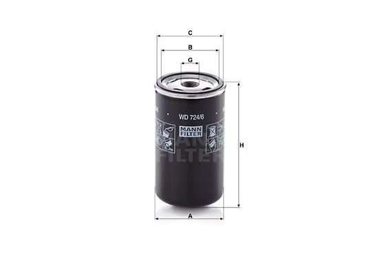 Filter, hydrauliek WD 724/6 Mann