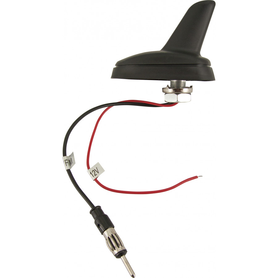 Sharkfin antenne universeel versterkt 15cm kabel for Antenne autoradio interieur