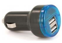 USB adapter - 2 poorten 5V-2.1A - 12/24V - zwart/blauw