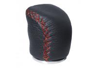 Simoni Racing Pookknop Special - Zwart Leder + Rode stiksels (tbv achteruitrijdvergrendeling)
