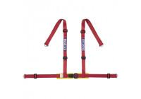 Sparco 4-Punts Sportgordel - Rood - incl. Bekkenbeschermer & Schroefbevestiging (E-Keur)