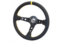 Simoni Racing Sportstuur Spec 350mm - Zwart Leder + Gele Stiksels (Deep Dish)