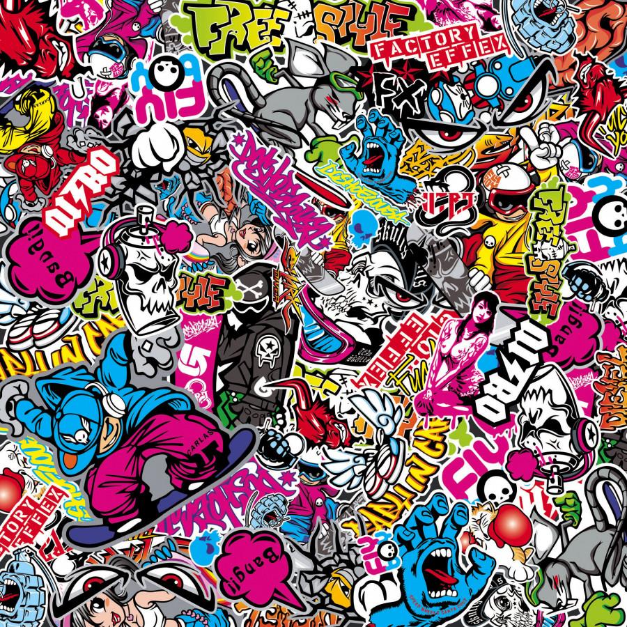 stickerbomb folie graffiti design 1 rol 60x200cm zelfklevend