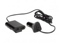 Billaddare med 2 USB-portar + 2 USB-portar för bakre passagerare (5 V - 4 x 2,4 A - 9,6 A - 4