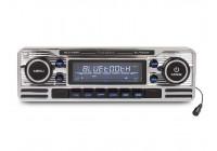 CD-spelare, FM-radio med USB-port, SD-kortläsare, AUX-ingång och Bluetooth