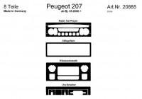 Prewoodec inre utrustning Peugeot 207 5 / 2006- inkl Klimatkontroll 8-del -. Aluminium