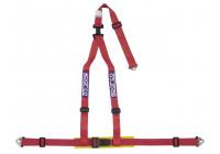 Sparco 3-Point Sports Belt - Röd - inkl Bäcken Protector & Skruvmontering (E-Mark).