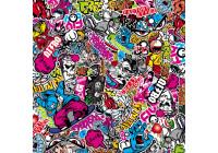 Stickerbomb Foil - Graffiti design 1 - Roll 60x200cm - self-adhesive