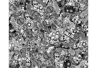 Stickerbomb Foil XL - Graffiti design 1 - black / white - 152x200cm - self-adhesive