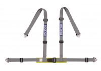 Sparco 4-Point Sport Belt - Silver - Incl. Pelvis Protector & Hook Attachment (E-mark)