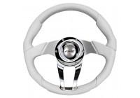 Simoni Racing Sport Steering Wheel Drag 350mm - White Leather / Chrome