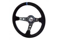 Simoni Racing Sport Steering Wheel Shakedown 350mm - Black Alcantara + Blue stitching (Deep Dish)