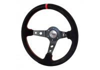 Simoni Racing Sports Steering Wheel Pit Lane 350mm - Black Alcantara + Red stitching (Deep Dish)