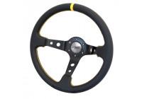 Simoni Racing Sports Steering Wheel Spec 350mm - Black Leather + Yellow Stitching (Deep Dish)