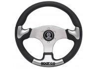 Sparco Universal Sport Steering Wheel 'P222' - Black / Gray / Aluminum - Diameter 345mm