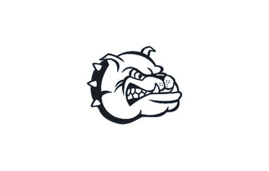 Klistermärke Bulldog Head - svart - 16x13cm
