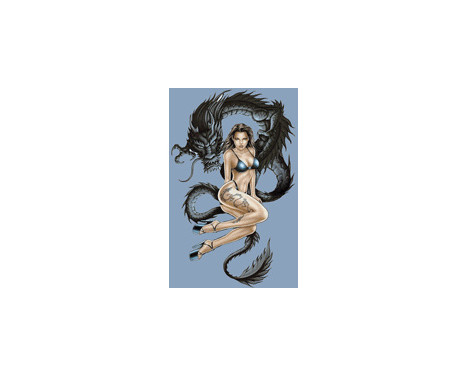 Klistermärke drake kvinna - 17x10,8cm, bild 2